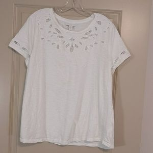 Charter Club Woman white t shirt with lace